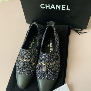 💕CHANEL CC Tweed Lambskin Loafer_size 36💕